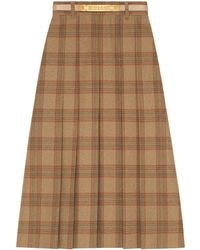 Gucci - Check Wool A-line Skirt - Lyst