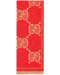 Gucci Schal aus Wolljacquard mit GG Motiv - Orange