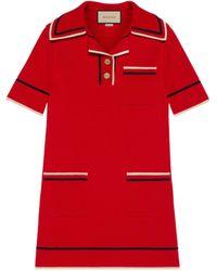 Gucci Kleid im polostil aus feinem baumwollstrick - Rot