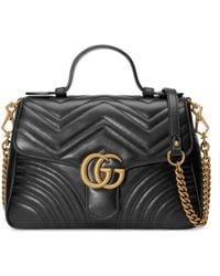 Gucci Borsa a mano GG Marmont misura piccola - Nero