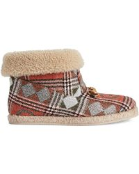 Gucci Check Ankle Boot - Brown