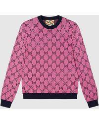 Gucci - グッチ公式オンライン限定 GG マルチカラー ウールコットン セーターピンク&ブルーcolor_descriptionウェア - Lyst