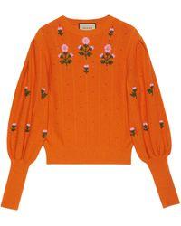Gucci Punto de algodón y lana con motivo floral - Naranja