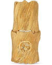 Gucci Bague de doigt en métal texturé avec détail GG - Métallisé