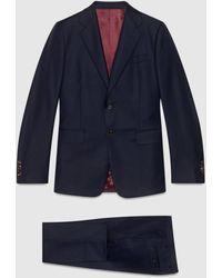 Gucci Anzug aus Wolle mit gerader Passform - Blau