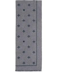 Gucci Schal aus Wolle mit Bienen und Sternen - Grau