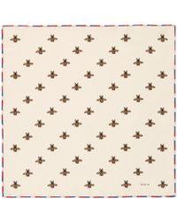 7a122d6d59 Lyst - Gucci Rapaci Print Silk Pocket Square in Metallic for Men