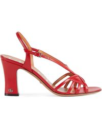 Gucci Damensandale mit Mini Doppel G - Rot