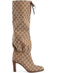 9f6b9b05c2d Gucci - GG Canvas Mid-heel Boot - Lyst