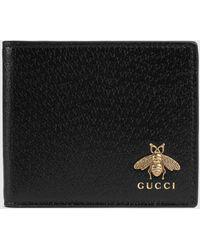 Gucci Animalier Brieftasche aus Leder - Schwarz