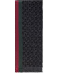 Gucci グッチ公式GGパターンマフラー(ウェブ/フリンジ)ブラック シルクウールcolor_descriptionウール - グレー
