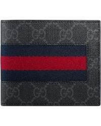 Gucci Portemonnaie aus GG Supreme mit Web - Schwarz