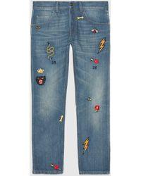 Gucci Jeans mit Applikationen - Blau
