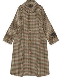 Gucci Manteau en laine à imprimé pied de poule avec étiquette - Marron