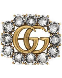 Gucci Broche Double G en métal avec cristaux - Métallisé