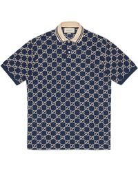 Gucci Embroidered GG Polo Shirt Blue Ss20