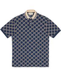 Gucci Poloshirt aus Stretch-Baumwolle mit GG Motiv - Blau