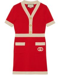 Gucci - Wool Dress With Interlocking G - Lyst