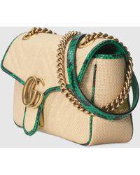 Gucci Online Exclusive GG Marmont Raffia Small Shoulder Bag - Metallic