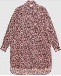 Gucci グッチリバティ ロンドン フローラル ウール オーバーサイズ シャツ - マルチカラー
