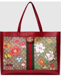 Gucci Mittelgroßer Ophidia GG Shopper mit Flora - Natur