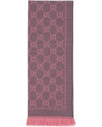 Gucci Schal aus Strick mit GG Jacquard Muster - Pink