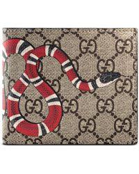 Gucci Portefeuille avec porte-monnaie gg supreme à imprimé kingsnake - Neutre