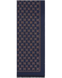 Gucci Metallic GG Wool Scarf - Blue