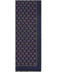 Gucci Écharpe en laine à motif GG métallisé - Bleu