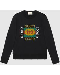 Gucci 【公式】 (グッチ)グッチ ロゴ コットン スウェットシャツブラック コットンジャージーブラック