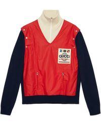 Gucci - Bomberjacke aus Wolle und Nylon mit Patch - Lyst