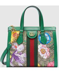 Gucci Kleiner Ophidia GG Shopper mit Flora Print - Natur