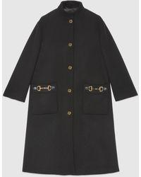 Gucci Mantel aus Wolle mit Lederdetail - Schwarz