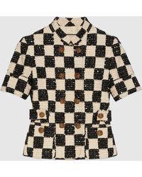 Gucci 【公式】 (グッチ)チェック ツイード ショートスリーブ ジャケットアイボリー&ブラックブラック - マルチカラー