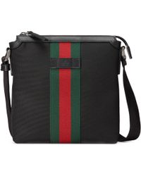 Gucci - Borsa a tracolla in tessuto tecnico con dettaglio Web - Lyst