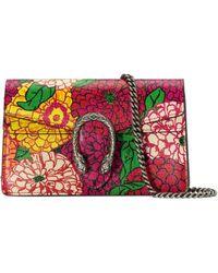 Gucci Ken Scott Print Dionysus Super Mini Bag - Red