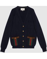 Gucci Cardigan aus Wollstrick-Mischung mit Web - Blau