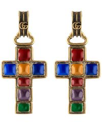c4378f7443c Gucci - Earrings With Cross Pendant - Lyst