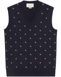 Gucci G Dot Wool Jacquard Vest - Blue