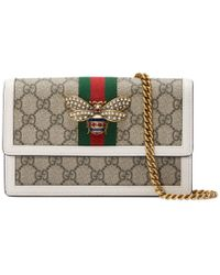 27cc32238e1 Lyst - Gucci Queen Margaret Leather Bee Wallet On Chain Bag in Red