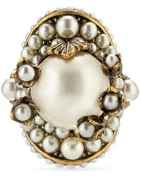 Gucci - Flower Ring With Glass Pearls - Lyst