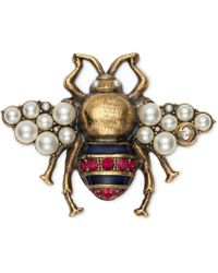 Gucci Bee Brooch With Crystals And Pearls - Green