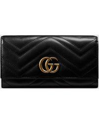 Gucci - 【公式】 (グッチ)〔GGマーモント〕 コンチネンタルウォレットブラック レザーブラック - Lyst