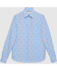 Gucci Gestreiftes Hemd mit Bienen - Blau