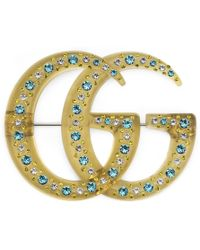 Gucci - Resin Double G Brooch With Crystals - Lyst