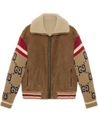 Gucci Suede Jacket With GG Knit Sleeves - Natural
