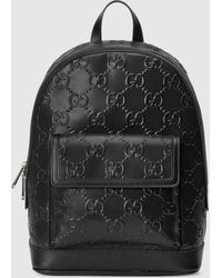 Gucci Rucksack aus geprägtem GG Leder - Schwarz