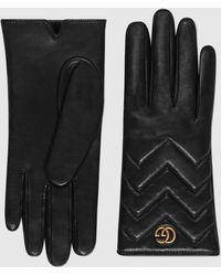 Gucci Handschuhe GG Marmont aus Leder mit Chevron - Schwarz