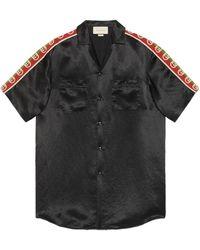 Gucci Übergroßes Bowling Shirt aus Azetat - Schwarz