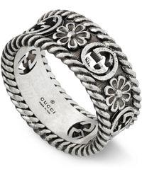 Gucci Interlocking G Silver Ring - Metallic